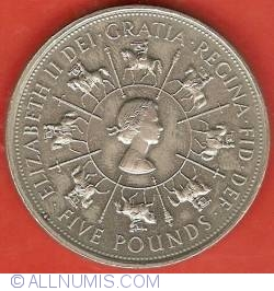 Image #1 of 5 Pounds 1993 - Aniversarea de 40 ani de la incoronarea Elizabetei a II-a