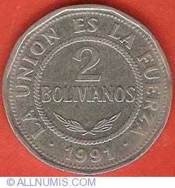 Image #2 of 2 Bolivianos 1991
