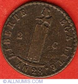 Imaginea #2 a 2 Centimes 1831 (AN28)