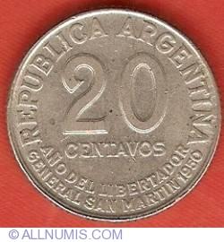 Image #1 of 20 Centavos 1950 - Year of Liberator de San Martin