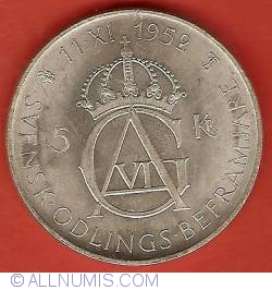 Image #2 of 5 Kronor 1952 - 70th Anniversary of Gustaf VI Adolf