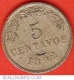 Imaginea #2 a 5 Centavos 1892