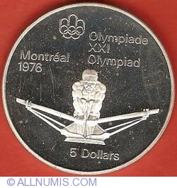 Imaginea #2 a 5 Dolari 1974 - Jocurile Olimpice de la Montreal - Canotor