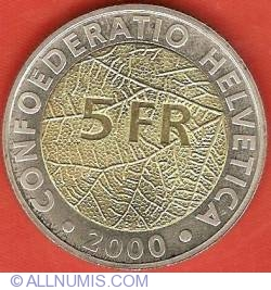Image #1 of 5 Francs 2000 - 150 Years Swiss National Coinage