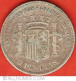 Image #2 of 5 Pesetas 1870 (70) SN-M