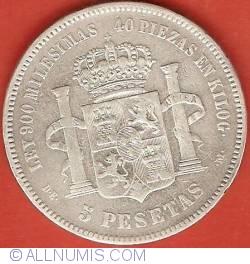 Image #2 of 5 Pesetas 1876 (76) DE-M