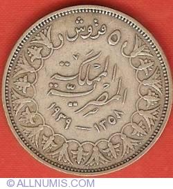 Imaginea #2 a 5 Piastres 1939 (AH 1358)