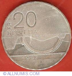 Image #1 of 20 Francs 1997 - 150th Anniversary of Swiss Railway