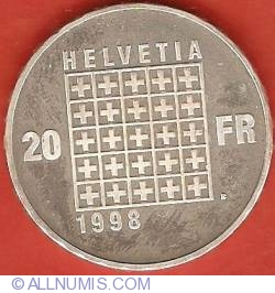 Image #1 of 20 Francs 1998 - 200th Anniversary of Helvetian Republic