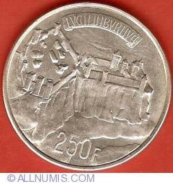 Image #2 of 250 Francs 1963 - 1000 years of ecorded history for Luxembourg City