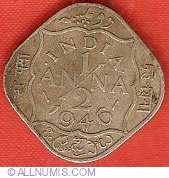 1 2 Anna 1946 British India George Vi 1936 1947 India Coin 9567