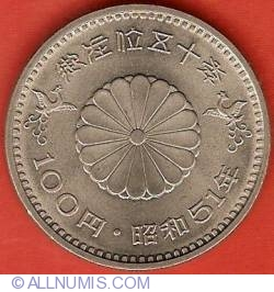 Image #2 of 100 Yen 1976 - 50th Anniversary of Reign