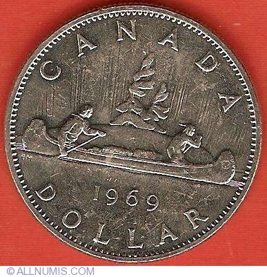 CANADA 1969 CANADIAN VOYAGEURS QUEEN ELIZABETH LARGE $1 DOLLAR SEALED COIN UNC