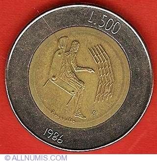 Bimetallic Commemorative. San Marino 500 Lire 1986 km195 UNC