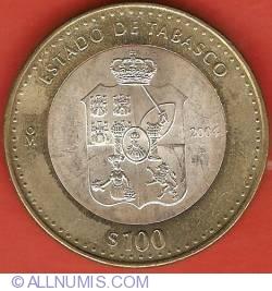 Image #2 of 100 Pesos 2004 - Tabasco - 180th Anniversary of Federation