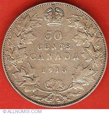 50 Cents 1913 George V 1911 1936 Canada Coin 6873