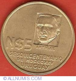 Imaginea #2 a 5 Nuevos Pesos 1975 - Aniversarea a 150 de ani de la Miscarea Revolutionara