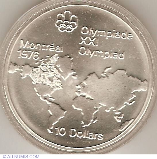 10 Dollars 1973  Montreal Olympics  World Map Commemorative