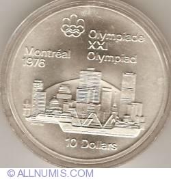 Imaginea #2 a 10 Dolari 1973 - Jocurile Olimpice de la Montreal - Linia de orizont a orasului