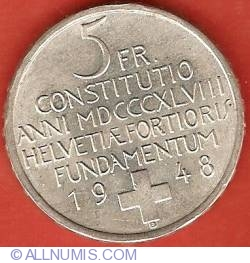 Image #2 of 5 Francs 1948 - Swiss Constitution Centennial