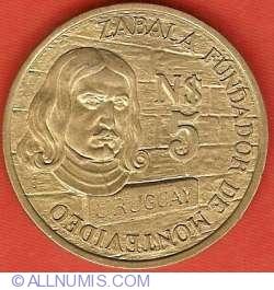 Imaginea #2 a 5 Nuevos Pesos 1976 - Aniversarea a 250 de ani de la fondarea Montevideo
