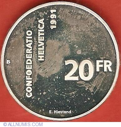 20 francs 1991 700 years of confederation confederation 1981 2000 switzerland coin 8499. Black Bedroom Furniture Sets. Home Design Ideas