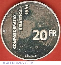 Image #2 of 20 Francs 1991 - 700 Years of Confederation