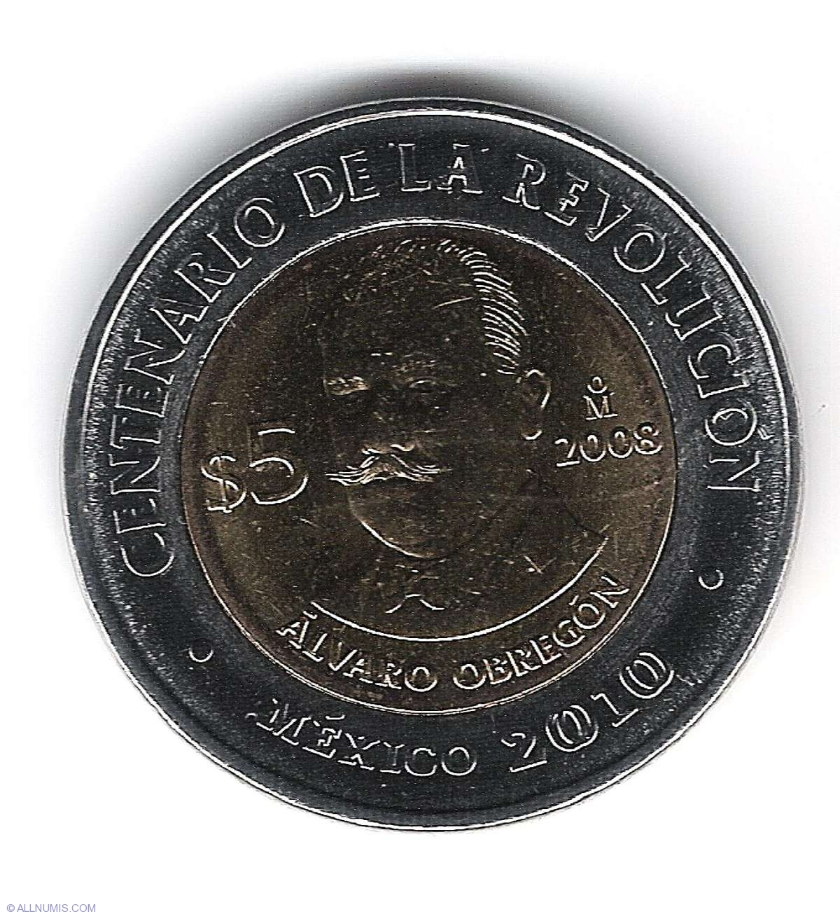 MEXICO COMMEMORATIVE BIMETALLIC COIN 5 PESOS KM895 UNC 2008 Alvaro Obregon
