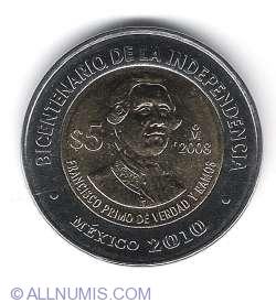 5 Pesos 2008 - Francisco Primo de Verdad Y Ramos - 200 de ani de independenta
