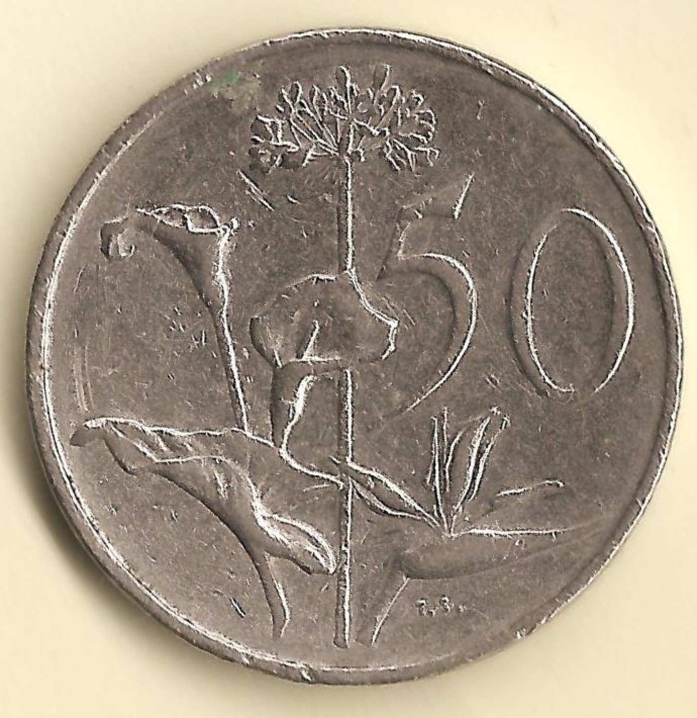 50 Cents 1974 Republic 1971 1980 South Africa Coin 39511