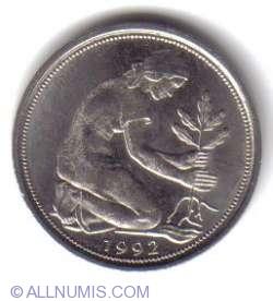 Imaginea #2 a 50 Pfennig 1992 F