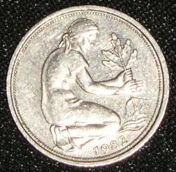 Imaginea #2 a 50 Pfennig 1982 F