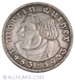 Image #2 of 5 Reichsmark 1933 D - 450th birth anniversary of Martin Luther