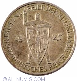 Image #2 of 5 Reichsmark 1925 E - 1000 years of the Rhineland