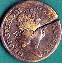 1 Penny 1723 - Rosa Americana - Cracked planchet.