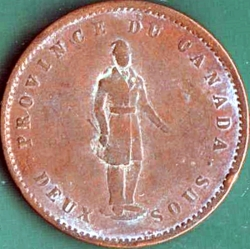 1 Penny / 2 Sous 1852 - Quebec Bank Token.