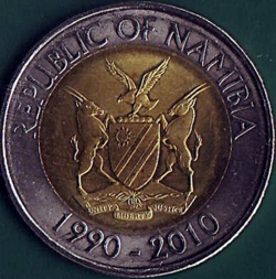 Imaginea #1 a 10 Dollars 2010 - 20 Years of the Bank of Namibia - metal fault on the reverse.