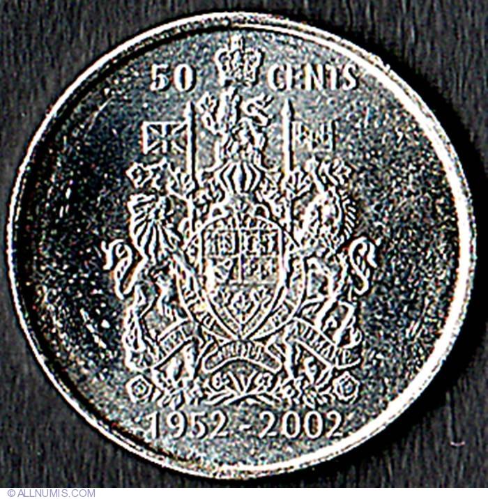 CANADA 2002 RARE CANADIAN ROYAL CROWN JUBILEE QUEEN ELIZABETH 50 CENTS COIN UNC