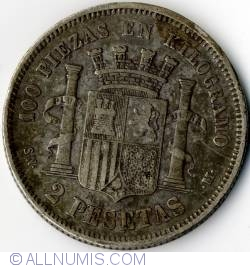 Image #2 of 2 Pesetas 1870 (70) SN-M