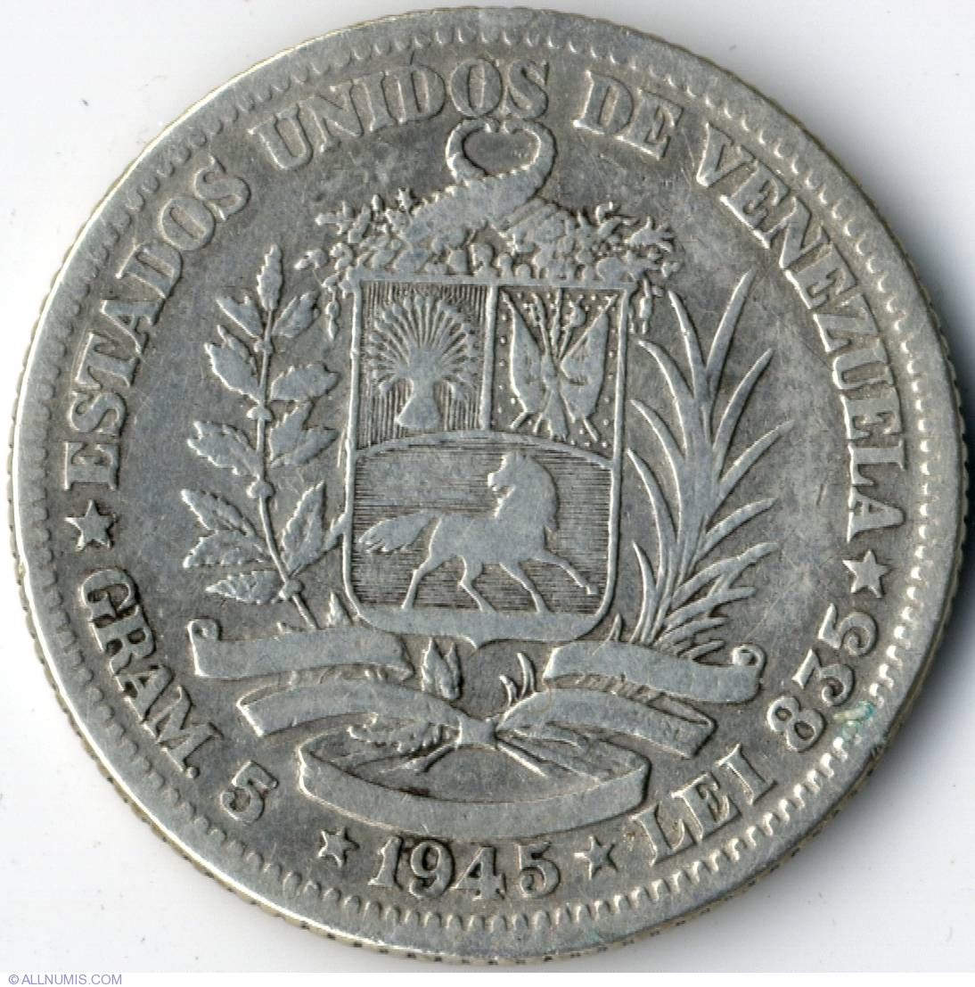1 Bolivar 1945 Republic 1941 1950 Venezuela Coin